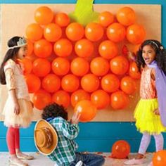 Pop Goes the Pumpkin {Harvest Party - Games}  Could put a piece of candy in each balloon.
