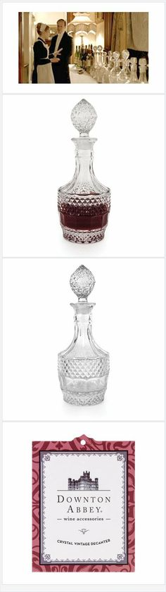Want to entertain with all the classic elegance shown on Downton Abbey, even if you dont have a staff to manage the house? Our licensed  Downton Abbey cut glass  decanter is perfect for your favorite bourbon or scotch! Buy several and have a beautiful bar setup.