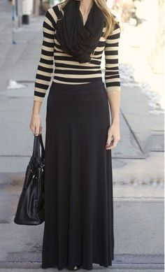 Womens Solid Flared Long Maxi Skirt worn with 3/4 sleeve striped top and solid infinity scarf! #modesty
