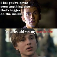 Hahaha the Doctor meets Peter Pevensie...though technically it's not his wardrobe. Still, this is great.