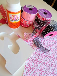 Funky Letters, mod podge paper