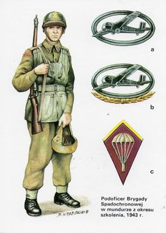 NCO 1st Polish Independent Parachute Brigade 1943. a. glider pilot's badge.  b. combat glider pilot's badge. c. collar patch Brigade artillery
