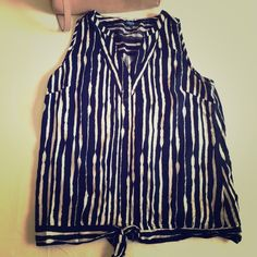 NEXT front knot style blouse Front knot style blouse in navy and white vertical stripes. Very slimming and smart. British high street brand NEXT, US size M. Worn a couple of times. No signs of wear. NEXT Tops Blouses
