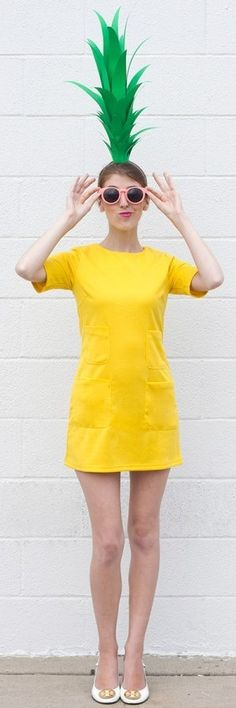 You've heard of recycling and up-cycling, now there's boo-cycling — making first-rate costumes from second-hand stuff. Check out this cute, clever, and minimalist pineapple costume!
