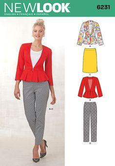 New Look 6231- Misses' Skirt, Pants & Peplum Jackets