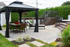Patio Pavé, Backyard Pool Landscaping, Gazebo, Pergola, Outdoor Spaces, Outdoor Decor, Pool Days, Patio Design, Outdoor Structures