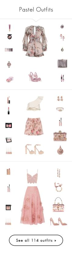 """""""Pastel Outfits"""" by billsacred ❤ liked on Polyvore featuring Zimmermann, Rina Limor, Lancôme, Sophia Webster, Maybelline, MAC Cosmetics, Olivia Burton, La Regale, Tasha and Michael Valitutti"""