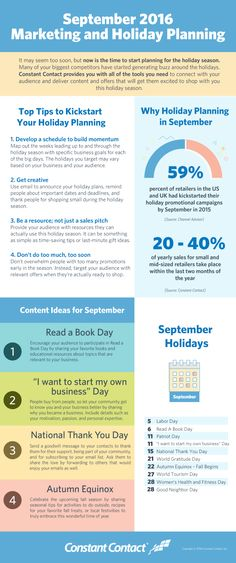 Before you know it the summer haze will fade and you'll have to kick it into high gear to catch up with your competitors who have already created a plan to boost sales during the holiday season. Lay the foundation for your best holiday season yet! Use the tips in our infographic to take advantage of September holidays and develop a plan to stand out during the holiday season.
