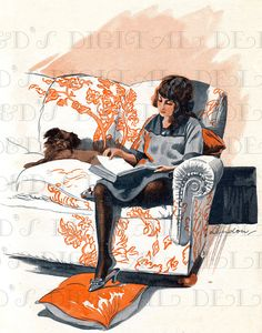 School Girl and Her Faithful Dog Relax READING. Vintage Illustration Digital Download. Vintage Book Print.