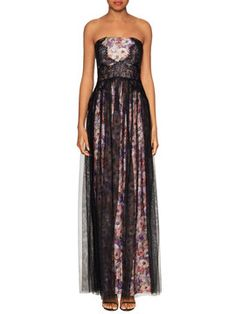 Floral Print Lace Mesh Strapless Dress from Evening