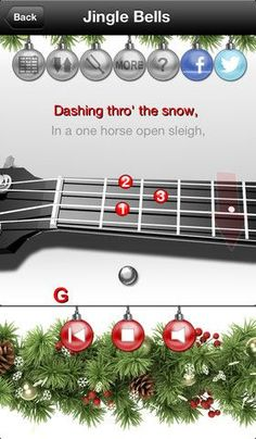 Ukulele Learning Christmas Playalongs (an app for iPhones, iPads, etc).  Once you learn how to play yourself, you turn off the accompanying ukulele and play alone.