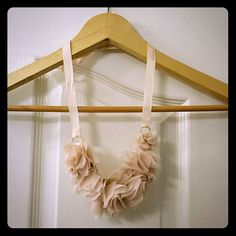 Chiffon flower necklace Chiffon pink flower necklace, you tie it in the back to adjust length, small tear on back side, can't see it when worn Express Accessories