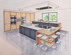 Interior Architecture Drawing, Architecture Concept Drawings, Drawing Interior, Architecture Design, Interior Design Hd, Interior Design Renderings, Interior Design Presentation, Kitchen Layout, Kitchen Design