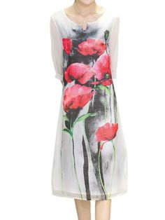 Sale 22% (27.78$) - Elegant Women Painting Floral Printed Chiffon Midi Dress