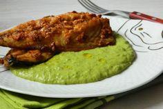 Macrou usturoiat cu piure de mazare Romanian Food, Romanian Recipes, Grains, Pork, Vegan, Fine Dining, Pie, Red Peppers, Kale Stir Fry
