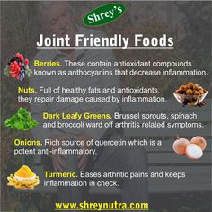 Keep away pain, stiffness and inflammation with these nutrient packed foods. For more on bone & joint health, visit www.shreynutra.com!  #bones #joints #health #supplements #fruits #food #antioxidants #vitamins