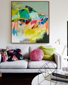 Details of our living room... My beautiful painting by @laelieberzon, sofa by @harpersproject, our marble Mahal Coffee Table, Wireframe Cube sculpture, Stencil desk lamp and a selection of cushions all from f&f. See our whole house over on the blog (link in bio), it's open for inspection again today if you're interested, deets are on the website. Image by @armellehabib #fentonandfenton #laelieberzon #ourhome #interiors #cakebread @jelliscraig