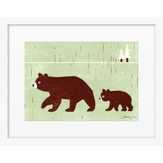 Start a nursery gallery wall for your little bear cub with this charming framed print from Artfully Walls, perfect paired with other woodland decor to build ...