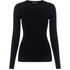 Theory - Fine Merino Crewneck Sweater ($200) ❤ liked on Polyvore featuring tops, sweaters, merino wool crewneck sweater, theory tops, crew sweater, blue top and merino sweater