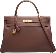 """Hermes 35cm Noisette Courchevel Leather Retourne Kelly Bag withGold Hardware. U Circle, 1991. Very Good Condition. 14""""Wi..."""
