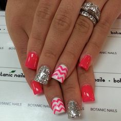 I like the solid/print/glitter combo... I'd want the chevron a different, coordinating color than the solid colored nails but would put a heart of the solid color on the chevron nail...