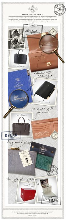 Anya Hindmarch Bespoke leather bags and goods. Love this idea!