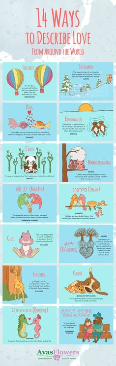 14 Ways To Describe Love From Around The World #Infographic #Love #Travel