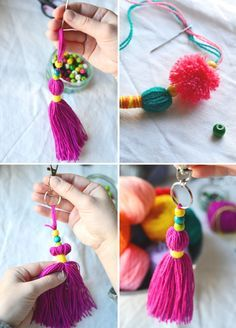 15 minute make: tasseled bag charm with quick mini pom poms - Best DIY and Crafts 2019 Pom Pom Crafts, Yarn Crafts, Diy Crafts To Sell, Crafts For Kids, Diy Tassel, Fabric Decor, Crochet, Handmade, Craft Ideas