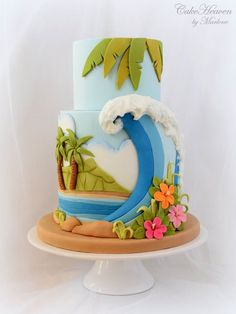 Tropical Hawaiian Themed beach wave ocean paradise cake - CakeHeaven by Marlene