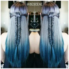 Amethyst moving into silver and then turquoise. Beautifuly ombre color melt by Linh Phan; hair rose and fishtail braid by Mckenzie Hawkinds. Blue hair #hotonbeauty fb.com/hotbeautymagazine
