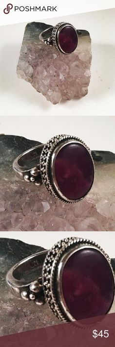 Women sterling silver size 5 purple sugilite ring Women ring . Ring is size 5 . Made with 9.25 Sterling silver ( you can see the stamp on the third picture) Japonese purple /dark pink sugilite gemstone. Perfect condition , never worn by anyone. I ship fast ✈️ Jewelry Rings