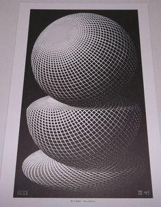 Art M. C. Escher Print Poster Three Spheres I  1945 #Surrealism