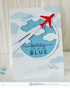 Out Of The Blue Birthday Card by Betsy Veldman for Papertrey Ink (February Cool Birthday Cards, Masculine Birthday Cards, Handmade Birthday Cards, Masculine Cards, Cumpleaños Diy, Zealand Tattoo, Blue Birthday, Beautiful Handmade Cards, Scrapbooking