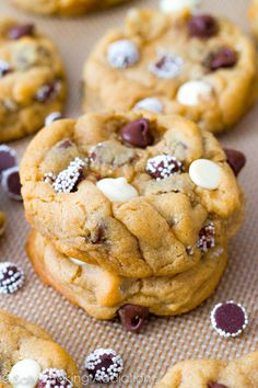 Soft-Baked Triple Chocolate Chip Cookies-Triple Chocolate Chip Cookies. Super chocolate, extra thick, and extra soft. sallysbakingaddiction....