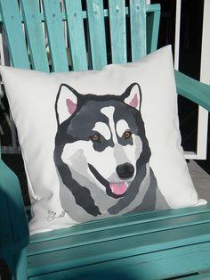 "Dog pillow Alaskan Malamute Mal Mally 20""x20"" outdoor pillow mushing sledding hand painted canine best friend Crabby Chris Original"