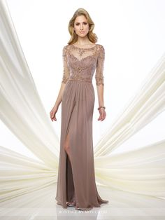 Chiffon slim A-line gown with hand-beaded illusion three-quarter length sleeves and bateau neckline, sweetheart bodice with beaded natural waist
