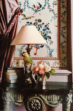 Gorgeous wallpaper, drapes and details