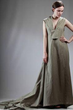 long train dress in organic cotton serge - YOHJI YAMAMOTO
