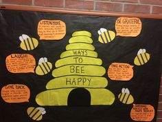 "RA, CA, res life, college bulletin board, spring, ""Ways to Bee Happy"" bee theme"