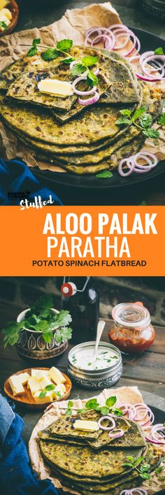 This Stuffed Potato Spinach Paratha has got potato mixture stuffed inside the Spinach Dough. Serve with yogurt, butter, pickle and salad. #paratha #flatbread #spinach