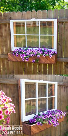 DIY Flower Box & Window for the Fence Build a DIY Window Box and learn how to mount it on your fence Outdoor Flower Boxes, Diy Flower Boxes, Window Box Flowers, Window Boxes, Fence Art, Diy Fence, Backyard Fences, Backyard Landscaping, Fence Ideas