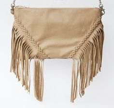 Bohemian Bag / Leather Fringe Crossbody Purse / Nude by Oxhare