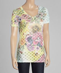 Loving this Yellow & Pink Floral V-Neck Tee - Women on #zulily! #zulilyfinds