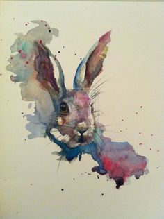 March hare painting by sarah stokes saatchi art. Watercolor Art Diy, Watercolor Art Paintings, Watercolor Animals, Animal Paintings, Watercolours, Painting Abstract, Acrylic Paintings, Lapin Art, March Hare