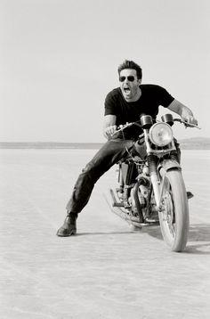 motor motorcycle man male portrait scream screaming sunglasses badass cool stylish salt plains salt flat tshirt shirt biker