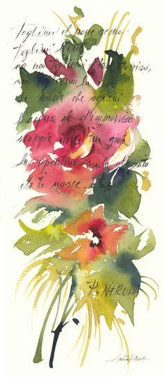 rosa  pablo  neruda   flower watercolor
