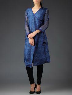 Buy Blue Kota Silk Block Printed Angrakha Kurta with Tassels Apparel Tunics & Kurtas Pacific Sojourn in and Maheshwari Dupattas Online at Jaypore.com