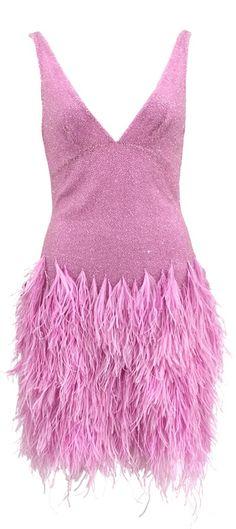 NAEEM KHAN Sleeveless V-Neck Beaded Feather Dress