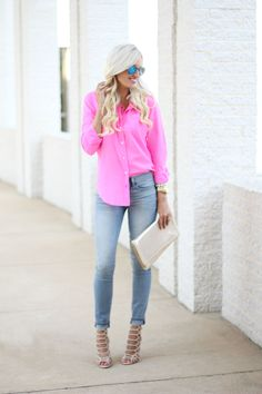 Hot Pink Button Down Shirt - Mckenna Bleu