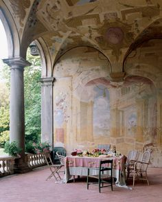 Seventeenth century frescoes adorn the loggia of the Villa Torrigiani outside Lucca. (Seventeenth century frescoes adorn the loggia of the Villa Torrigiani outside Lucca. Outdoor Rooms, Outdoor Dining, Outdoor Seating, Fresco, Porches, Lucca Italy, Tuscany Italy, Emilia Romagna, Decoration Inspiration